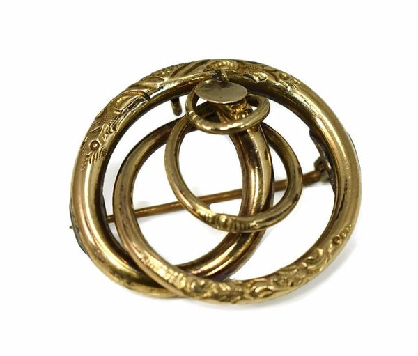 Victorian Love Knot 14k Brooch or Pendant Antique Gold