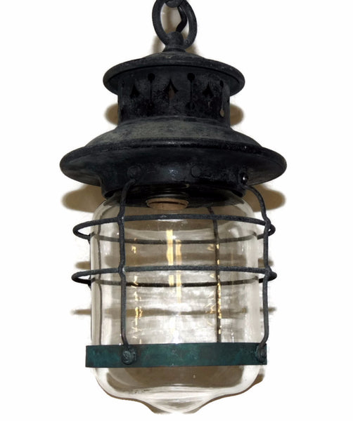 Antique Lantern Light Fixture Arts and Crafts Mission Style Hanging Lamp - Premier Estate Gallery  - 2