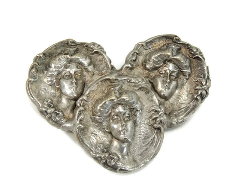 Antique Nouveau Victorian Women Repousse Brooch Silverplate - Premier Estate Gallery  - 1