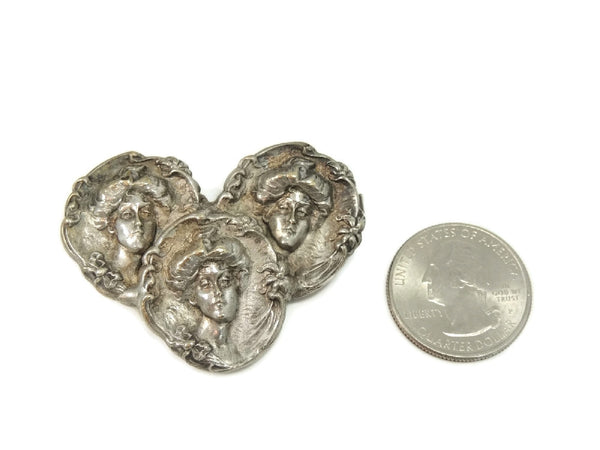 Antique Nouveau Victorian Women Repousse Brooch Silverplate - Premier Estate Gallery  - 3
