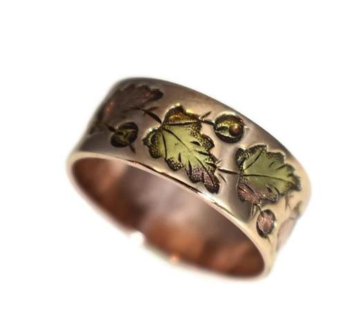 Antique 14k Rose Gold Victorian Leaf Wedding Band, Victorian Rose Gold Wedding Ring - Premier Estate Gallery