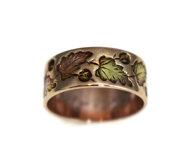 Antique 14k Rose Gold Victorian Leaf Wedding Band, Victorian Rose Gold Wedding Ring - Premier Estate Gallery 2