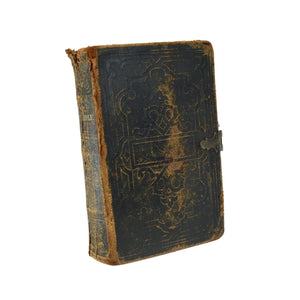 1859 Leather Bible Old and New Testaments w bookplate from Rev Clifford S Arms to Mary A Carpenter, Ridgebury, NY - Premier Estate Gallery