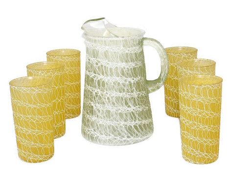 Mid Century Modern Barware Drinkware Set Spaghetti String Colorcraft - Premier Estate Gallery