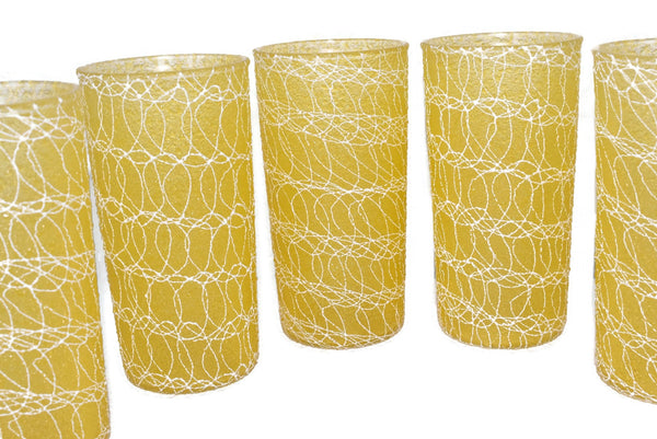 Mid Century Modern Barware Drinkware Set Spaghetti String Colorcraft - Premier Estate Gallery 4