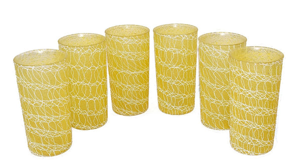 Mid Century Modern Barware Drinkware Set Spaghetti String Colorcraft - Premier Estate Gallery 2