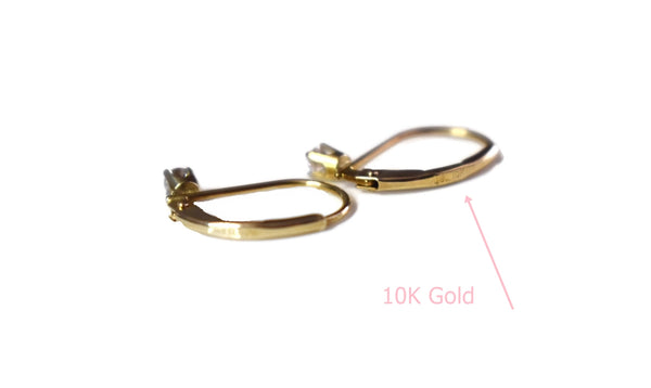 Dainty 10k Gold Diamond Lever Back Earrings