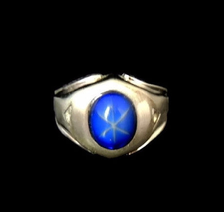 Vintage Glass Star Sapphire Men's Ring in 14k White GP Mad Men Style