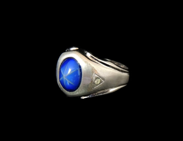 60s Vintage Men's Ring Glass Lindy Star Sapphire in 14k White GP Mad Men Style - Premier Estate Gallery  - 3