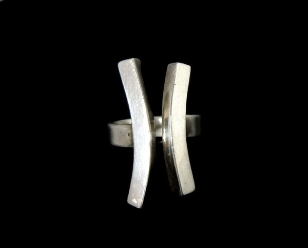 Vintage Sterling Silver Modernism Ring Bold Lines 15g c1970 - Premier Estate Gallery  - 2
