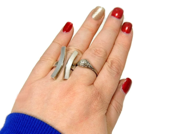 Vintage Sterling Silver Modernism Ring Bold Lines 15g c1970 - Premier Estate Gallery  - 3