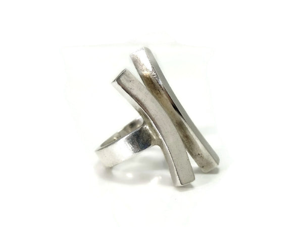Vintage Sterling Silver Modernism Ring Bold Lines 15g c1970 - Premier Estate Gallery  - 4