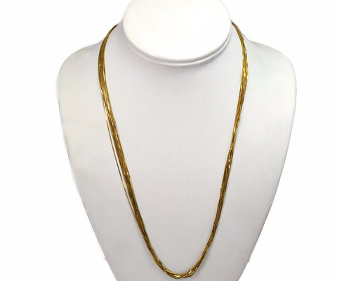 Vintage 14k Multi Strand Liquid Gold Necklace 22 Inches Long - Premier Estate Gallery