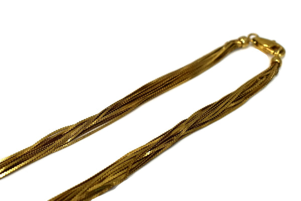 Vintage 14k Multi Strand Liquid Gold Necklace 22 Inches Long