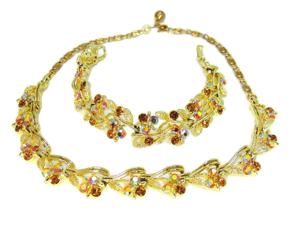 Vintage Lisner AB Rhinestone Jewelry Set Necklace Bracelet Amber Topaz Color