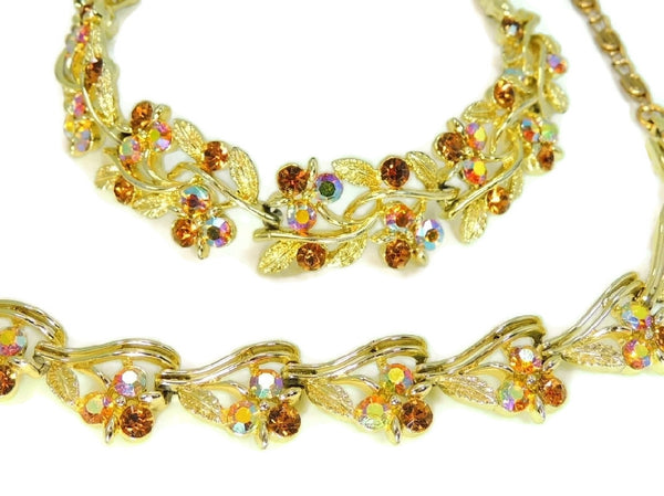 Vintage Lisner AB Rhinestone Jewelry Set Necklace Bracelet Amber Topaz Color - Premier Estate Gallery  - 3