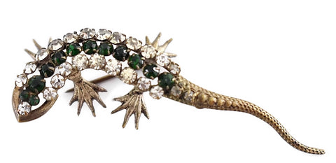 Estate Art Deco Rhinestone Lizard Brooch Green Rhinestones - Premier Estate Gallery