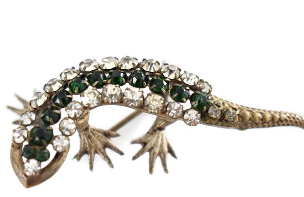 Estate Art Deco Rhinestone Lizard Brooch Green Rhinestones - Premier Estate Gallery  2
