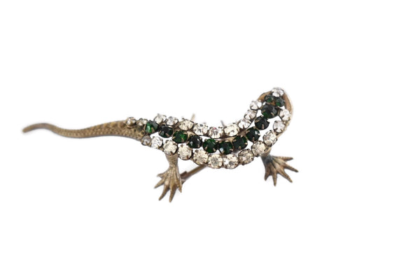 Estate Art Deco Rhinestone Lizard Brooch Green Rhinestones