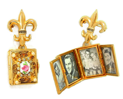 1950s Coro Brooch Locket Fleur De Lis 4 Photo Locket - Premier Estate Gallery - 1