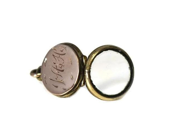 c1900 Pocket Watch Locket Fob Gold Filled Small Engraved