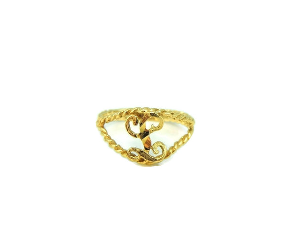 Child's 10k Gold Ring Initial L Letter L Pinky Ring - Premier Estate Gallery  - 2