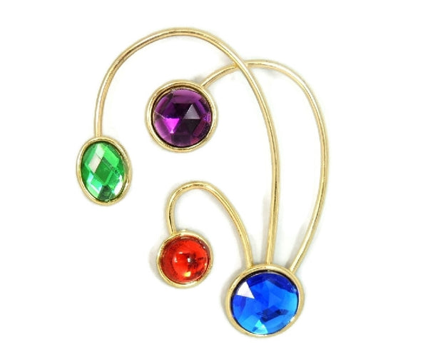 80s Deco Style Jewel Tone Brooch Massive Size 4 inch - Premier Estate Gallery  - 2