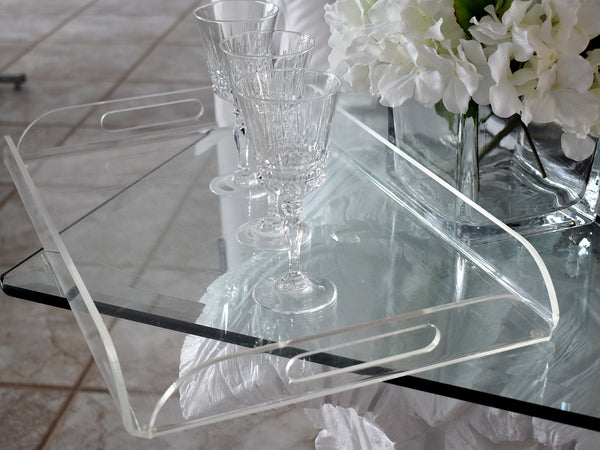Big MId Century Lucite Handled Tray Cocktails Serving Vanity - Premier Estate Gallery 5