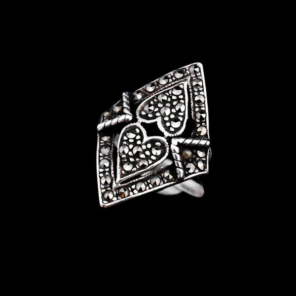 Sterling Silver Marcasite Hearts Ring Big Vintage Bling - Premier Estate Gallery 3
