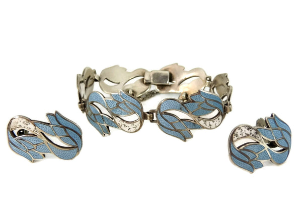 Vintage Margot De Taxco Blue Enamel Silver Jewelry Set