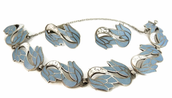 Silver Margot De Taxco Blue Enamel Bracelet Earrings Set Vintage