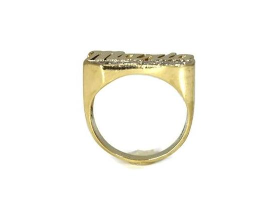 Vintage 14k Maria Ring Big Gold Setting Diamond Accents c1980