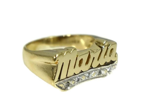 Vintage 14k Maria Ring Big Gold Setting Diamond Accents c1980 - Premier Estate Gallery 4