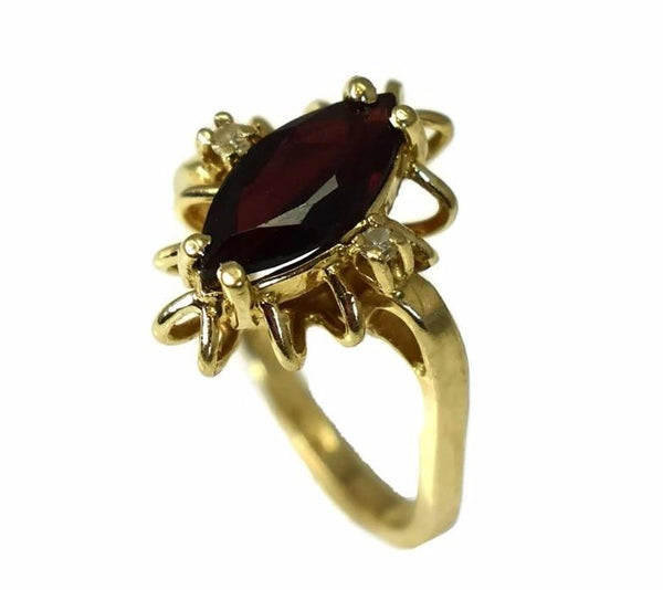 14k Gold Almandine Garnet Ring with Diamond Accents Vintage c1950 - Premier Estate Gallery