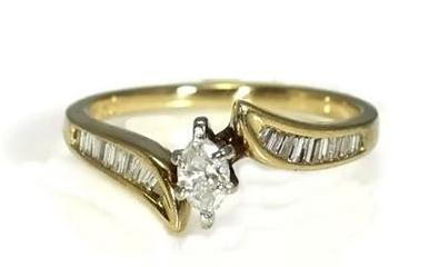 14k Diamond Engagement Ring .50 ctw Marquise Diamond with Baguettes - Premier Estate Gallery