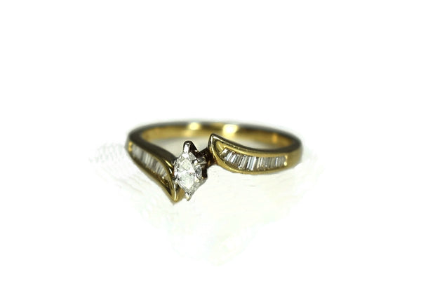 14k Diamond Engagement Ring .50 ctw Marquise Diamond with Baguettes