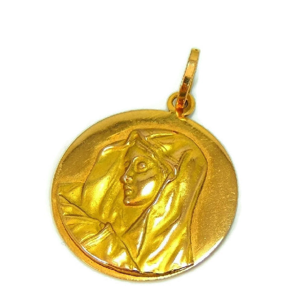 Blessed Mary 18k Gold Medallion Pendant Vintage Italy - Premier Estate Gallery  - 1