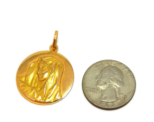 Blessed Mary 18k Gold Medallion Pendant Vintage Italy - Premier Estate Gallery  - 2