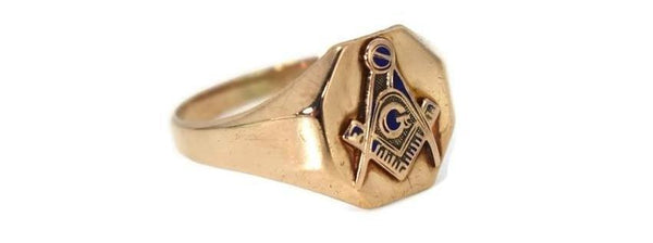 Vintage 10k Gold Masonic Emblem Ring Signed Otsby and Barton c1930s - Premier Estate Gallery 1