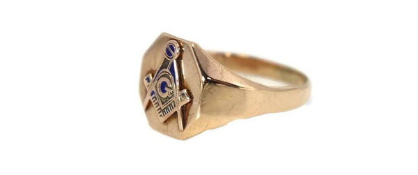Vintage 10k Gold Masonic Emblem Ring Signed Otsby and Barton c1930s