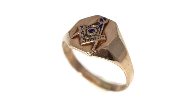 Vintage 10k Gold Masonic Emblem Ring Signed Otsby and Barton c1930s - Premier Estate Gallery 2