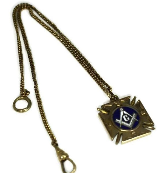 Masonic Enamel Watch Fob Gold Filled Double Side w Watch Chain Antique - Premier Estate Gallery