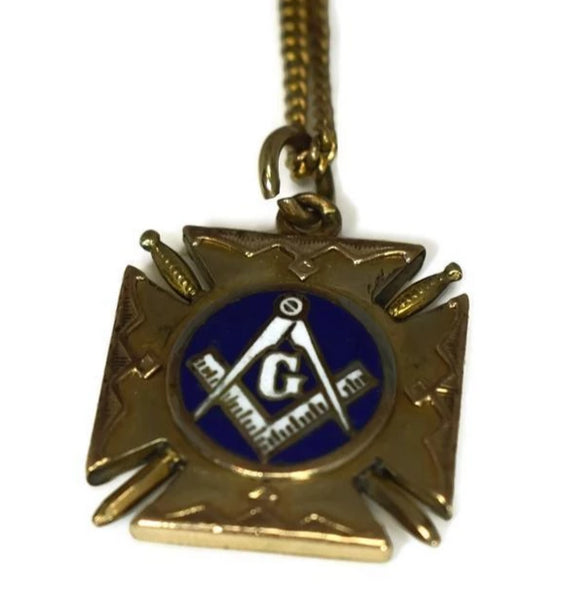 Masonic Enamel Watch Fob Gold Filled Double Side w Watch Chain Antique - Premier Estate Gallery 2