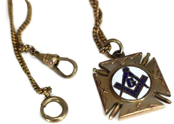 Masonic Enamel Watch Fob Gold Filled Double Side w Watch Chain Antique - Premier Estate Gallery 3