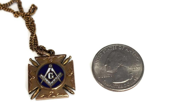 Masonic Enamel Watch Fob Gold Filled Double Side w Watch Chain Antique - Premier Estate Gallery 4
