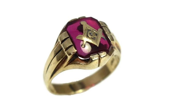 1940s Masonic Ring 10k Gold Lab Ruby Vintage Masons - Premier Estate Gallery