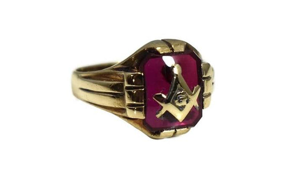 1940s Masonic Ring 10k Gold Lab Ruby Vintage Masons - Premier Estate Gallery 2