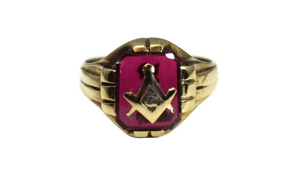 1940s Masonic Ring 10k Gold Lab Ruby Vintage Masons - Premier Estate Gallery 3