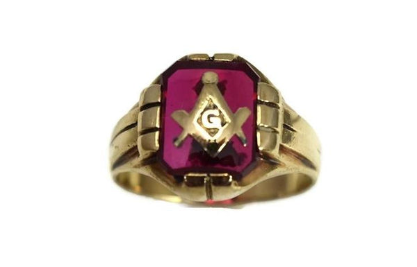 1940s Masonic Ring 10k Gold Lab Ruby Vintage Masons - Premier Estate Gallery 4