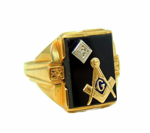 10k Masonic Men's Ring Diamond Enamel Accents Art Deco Vintage